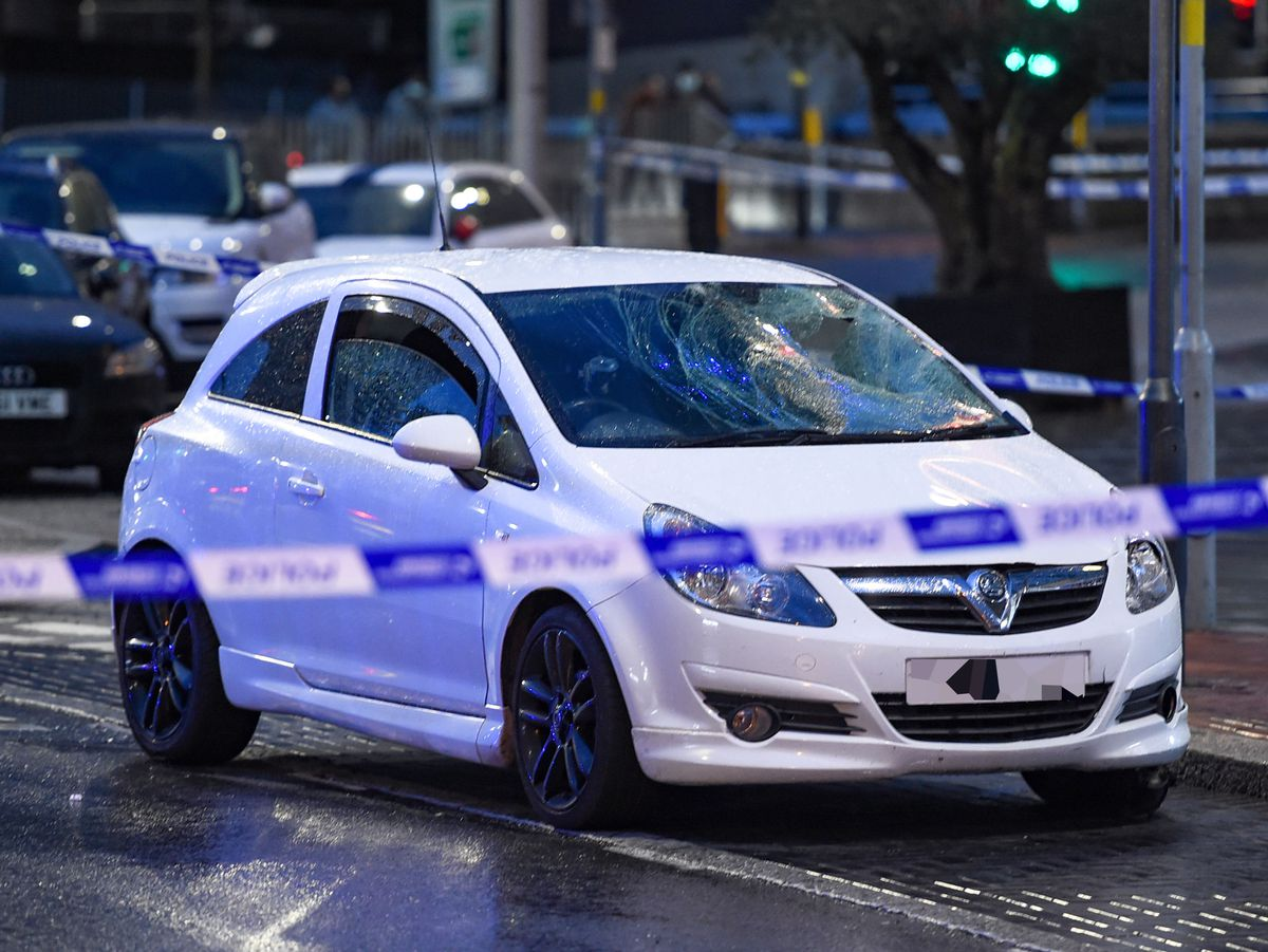 A white Vauxhall with front-end damage was behind the cordon. Photo: SnapperSK