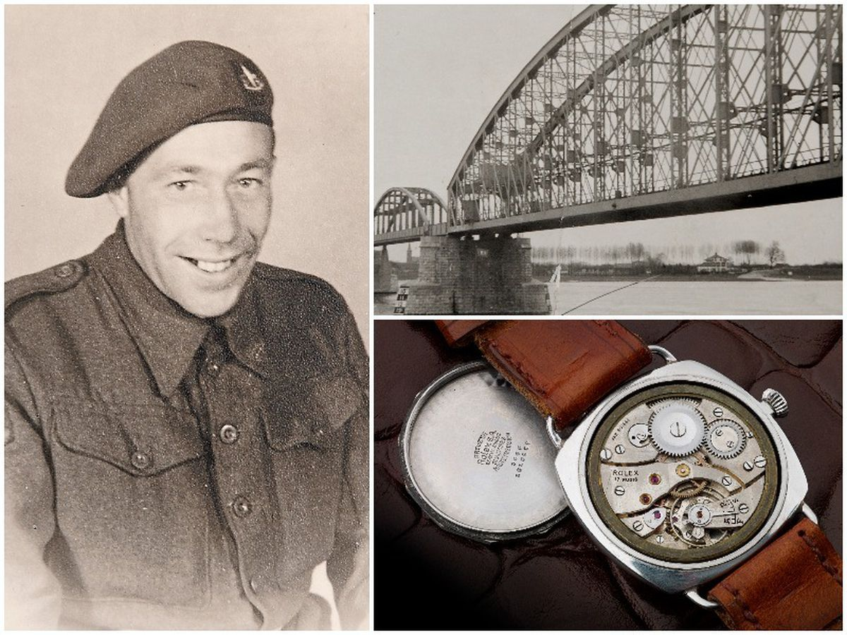 Left, George Rowson served in Holland, and right top, the bridge at Nijmegen which the Germans tried to destroy with charges, and right bottom, this shot shows the watch movement