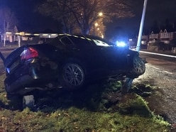 Car left wedged into lamppost after suspected drink-fuelled smash