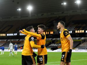 Pedro Neto of Wolverhampton Wanderers celebrates after scoring a goal to make it 2-1 with Vitinha of Wolverhampton Wanderers (AMA)