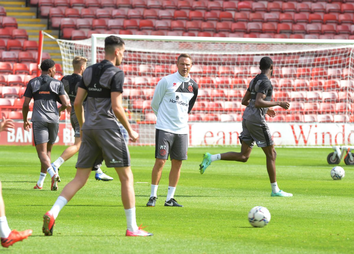 Matt Taylor looks on during Walsall's open training session at the Banks's Stadium