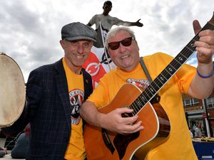Billy Spakeman and John Langford in Dudley town centre for Black Country Day