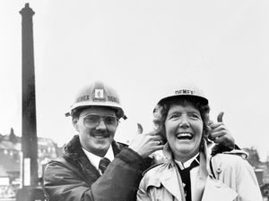 All set to blow. Demolition expert Richard Fowler with Mrs Irene Allport.