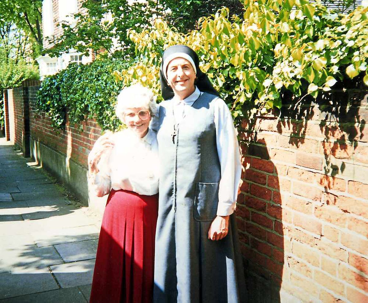 With his mum on the Nuns on the Run set, 1989