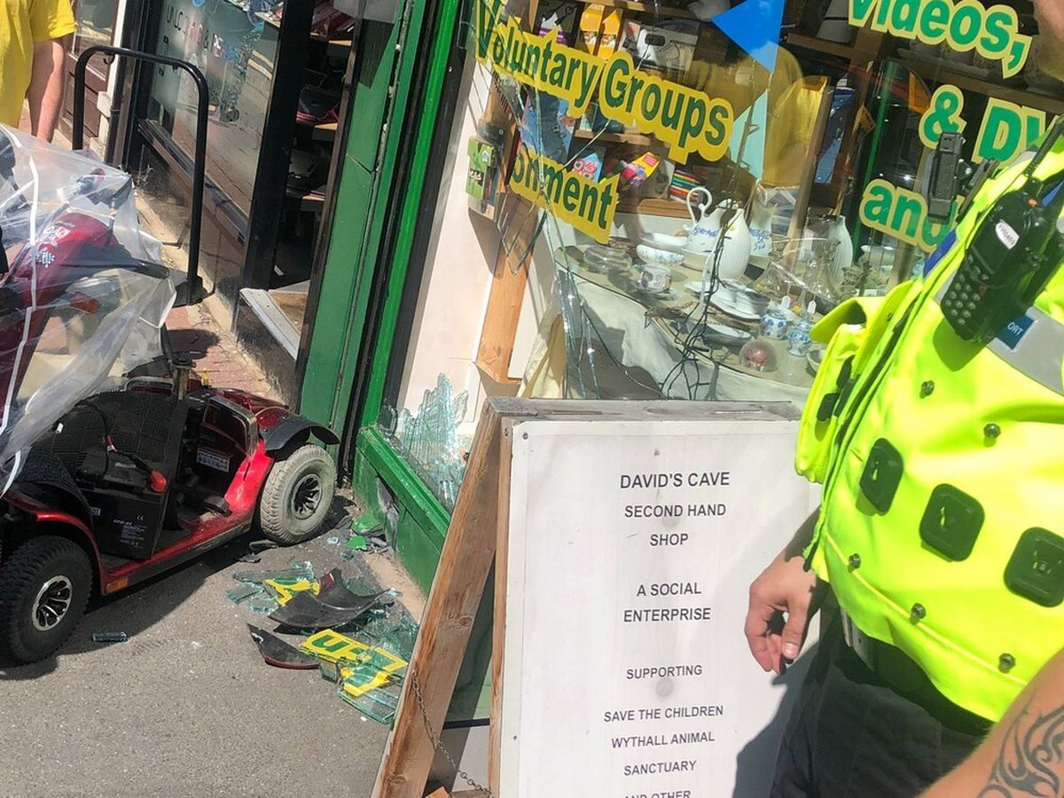 The crash scene in Wolverhampton Street, Dudley