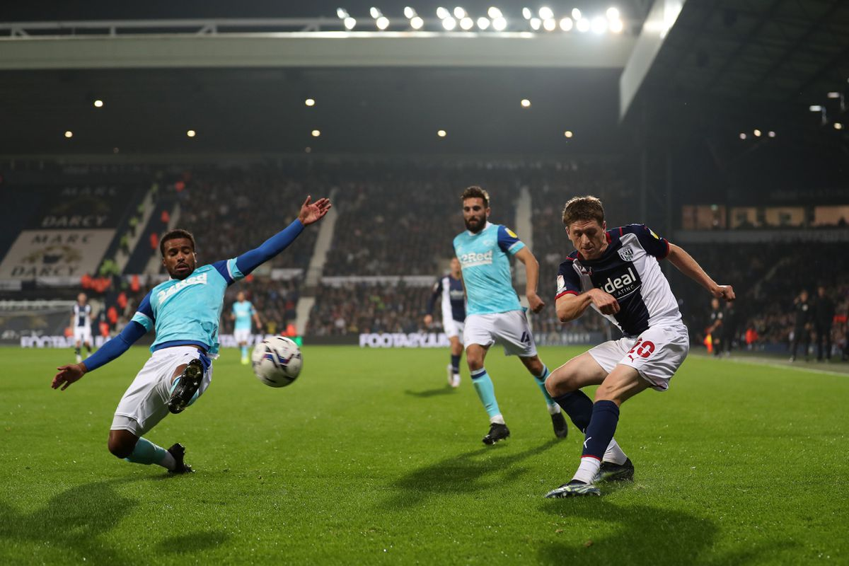 Nathan Byrne of Derby County attempts to block a cross (Photo by Adam Fradgley/West Bromwich Albion FC via Getty Images).