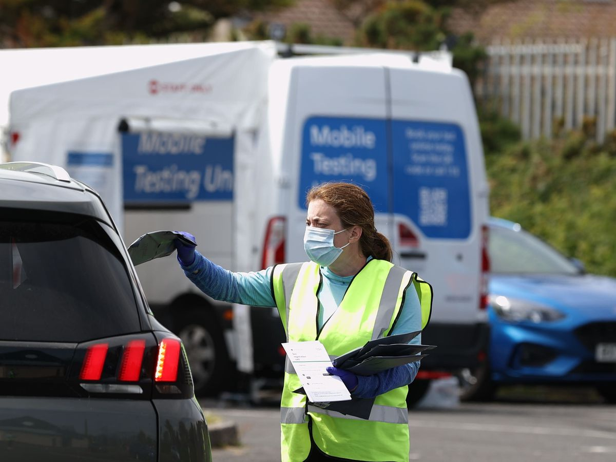 Woman hands driver Covid test
