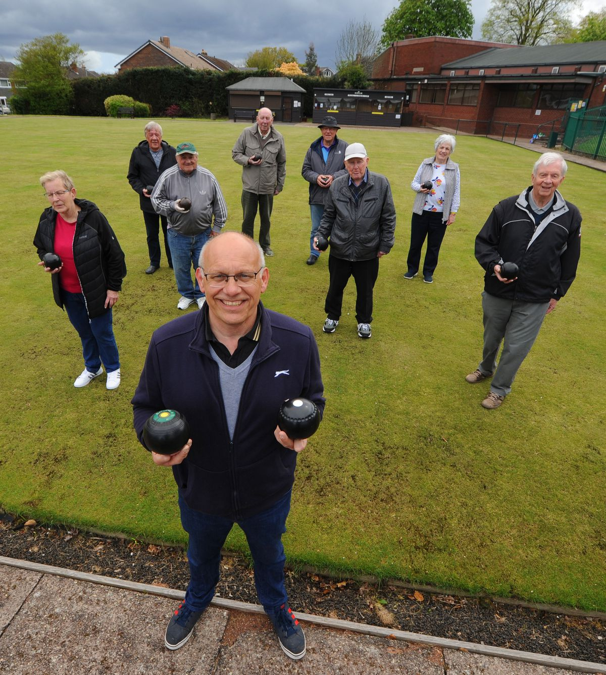 Pelsall Bowling Club committee member Paul Nash (front) with fellow members