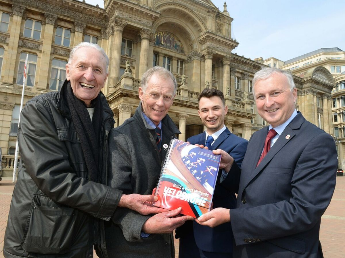 Former World Cycling Champion Hugh Porter, Halesowen Cycling Club Chairman David Viner, and campaigner Charlie Dickens hand over a 6,000-strong petition to Birmingham City Council leader Ian Ward in support of a new velodrome