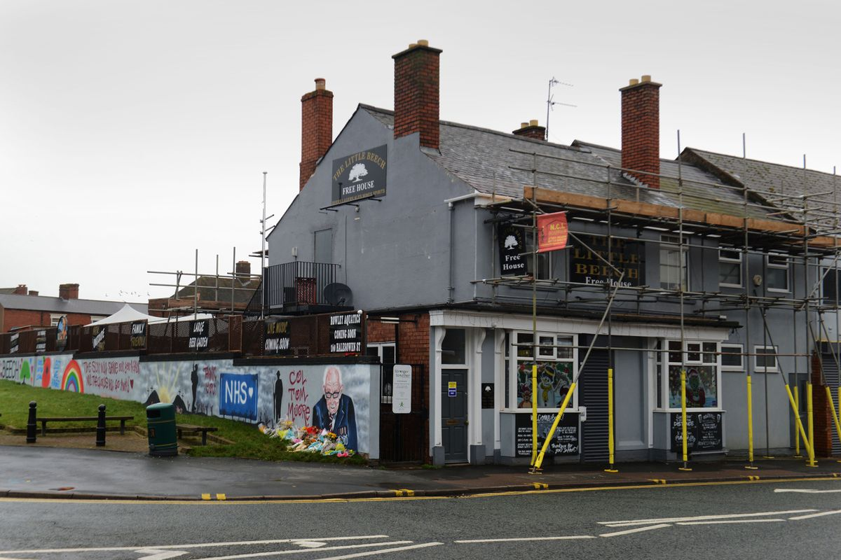 The mural is next to The Little Beech pub