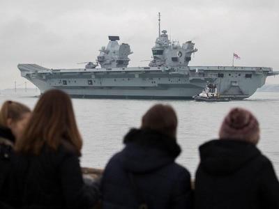 Aircraft carrier HMS Queen Elizabeth carrying out first UK flight trials