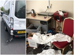 Thieves empty soup, spread butter and use football club's own minibus as battering ram