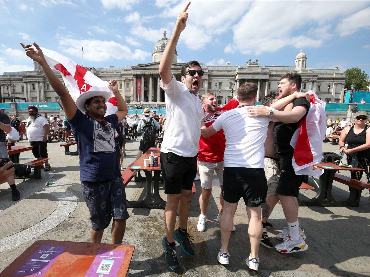 Celebrations at the Fan Zone in Trafalgar Square