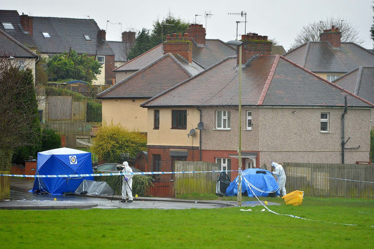 A forensic tent and blue sheet on Wilson Road, next to the grassland where tyre tracks were examined