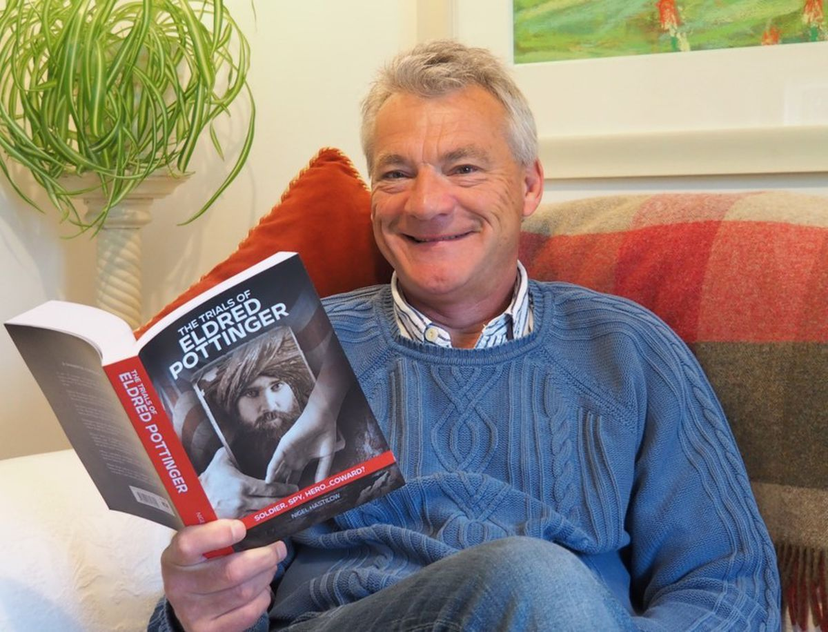 Nigel Hastilow with his book, The Trials of Eldred Pottinger