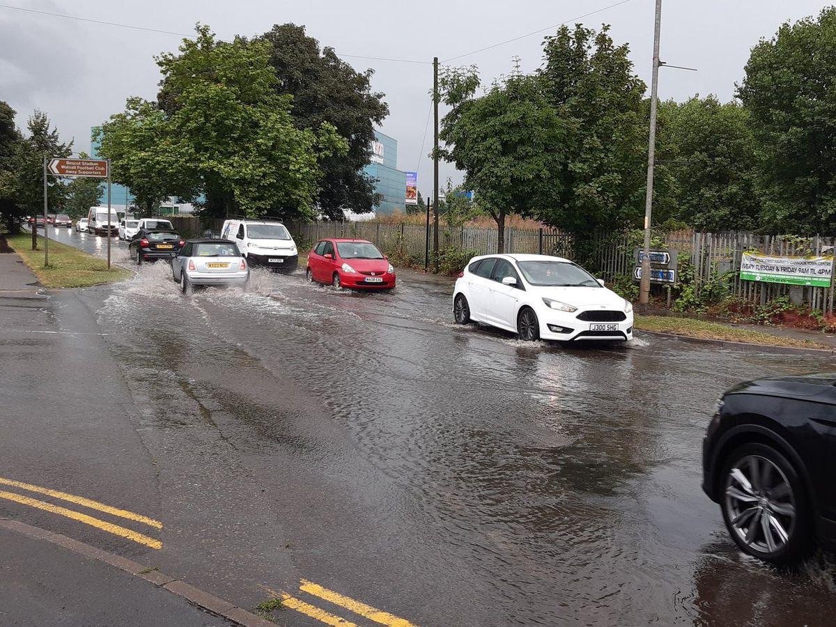 Flash flooding on Bescot Crescent near Walsall's stadium