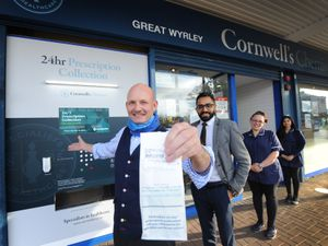 Cornwall's Chemist in Great Wyrley has installed a new, 24-hour prescription collection vending machine. (L to R) owner Jonathan Mitchell, pharmacist Pritpal Grewal, shop senior Carol Taylor and pharmacy dispenser Shannon Kang