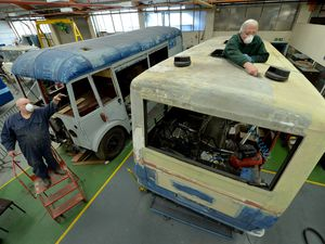 COPYRIGHT TIM STURGESS EXPRESS AND STAR...... 08/10/2020...   Aldridge Transport Museum, Shenstone Drive Northgate, Walsall . Restoration work is a big part of what the museum carries out , pictured working on a 1988 MCW Metro Rider are left, Brian Johnson and Graham Wilson. Contact Martin Fisher 07950 144264..