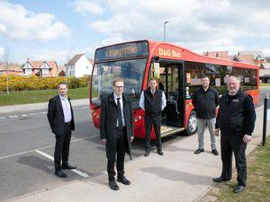 MP Jack Brereton, second left, at launch of Covid safe bus fogging system