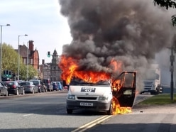 Van goes up in flames during rush hour in Wolverhampton city centre