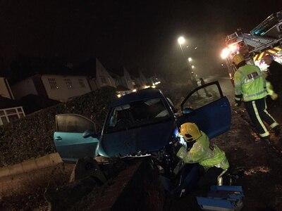 'Stolen' car wedged between walls in crash after suspected burglaries
