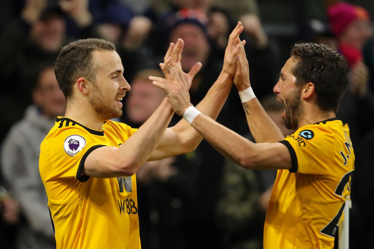 Diogo Jota of Wolverhampton Wanderers celebrates after scoring a goal to make it 3-0. (AMA/Sam Bagnall)