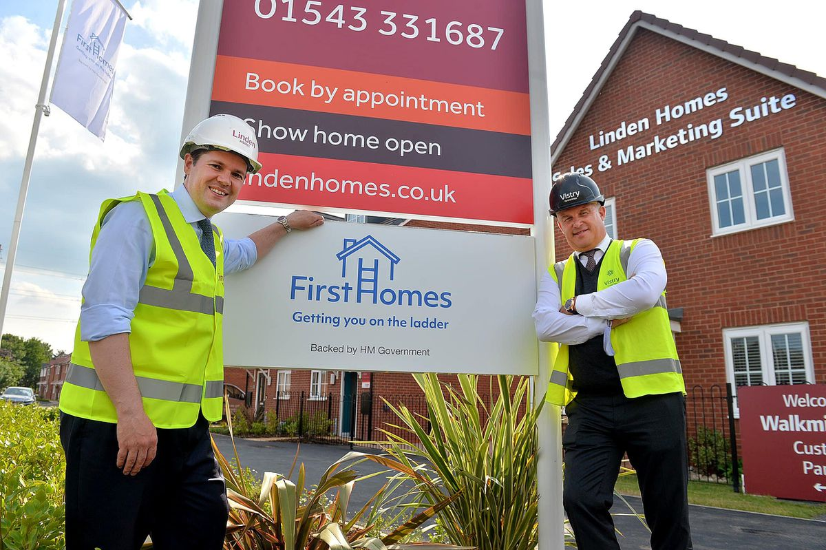 Robert Jenrick MP (left), seen here in Cannock with James Warrington of Vistry, has launched the First Homes scheme