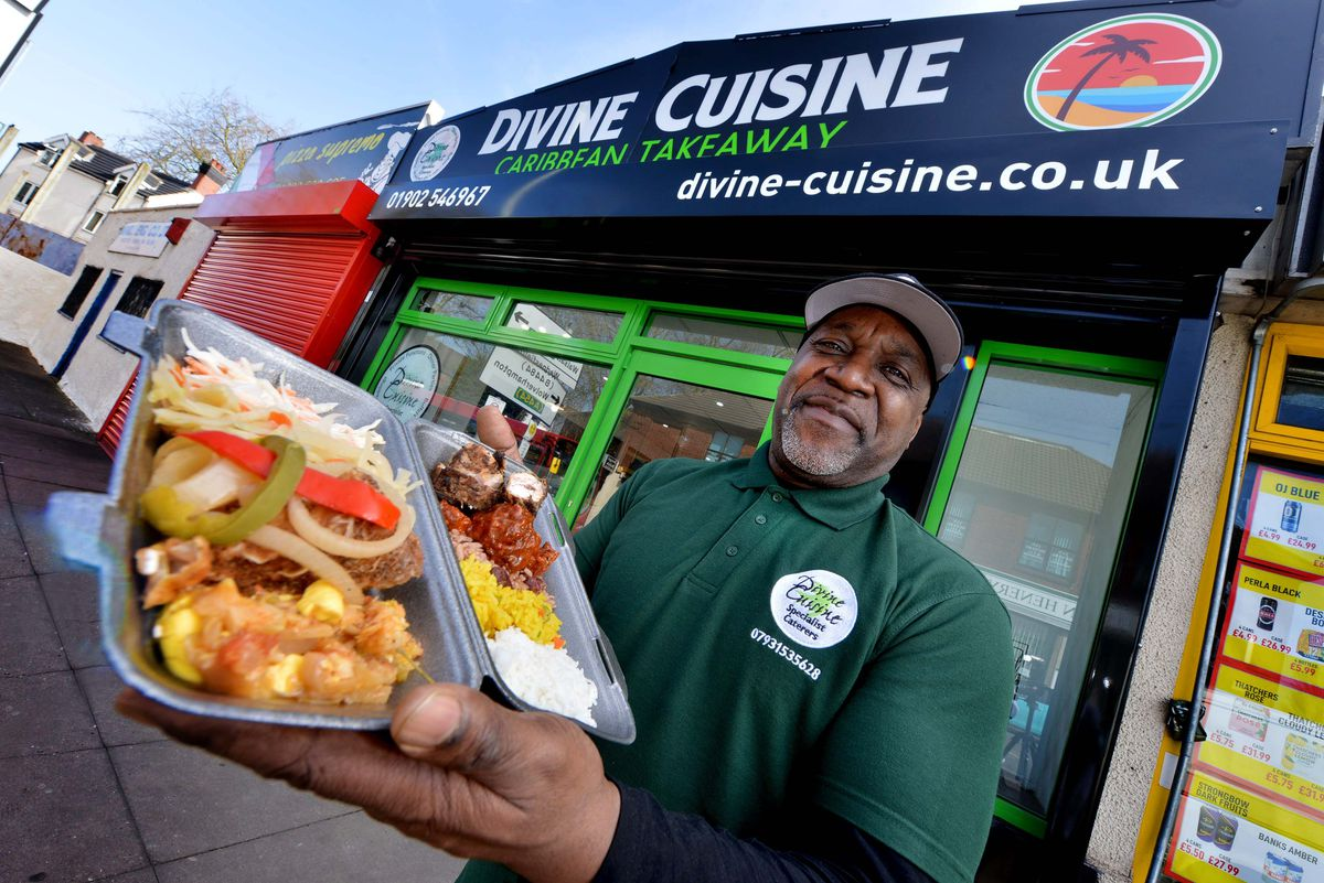 Pastor Roger Maynard has welcomed some of his congregation to his new Caribbean takeaway called Divine Cuisine