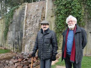 Fred Holland and Michael Loftus by the waterfall. Photo: Colin Hill