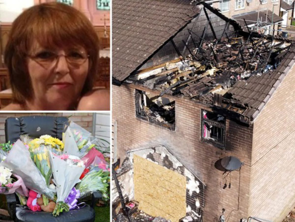 Lynn Hadley died in an explosion at her home in Walsall, pictured. Main photo: Tim Thursfield