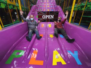 Owner Ray Bower and managing director Richard Bower test the indoor soft play area ahead of reopening at Lower Drayton Farm