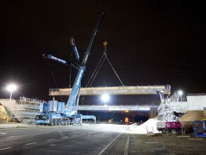 The beams being lifted into place. Photo: Highways England