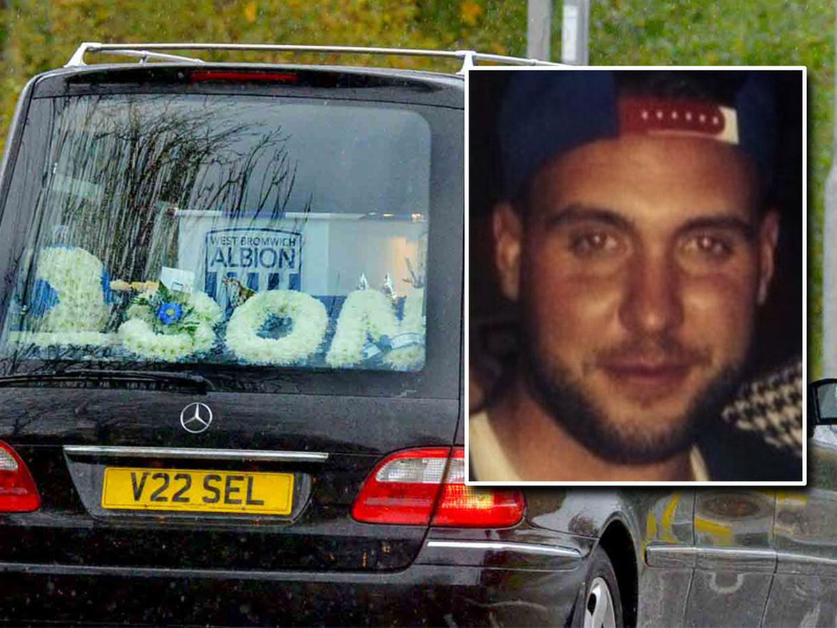 The funeral procession made its way through the streets today honouring Rob Spray, inset