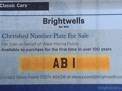 West Mercia Police sell historic AB1 number plate for £160,000