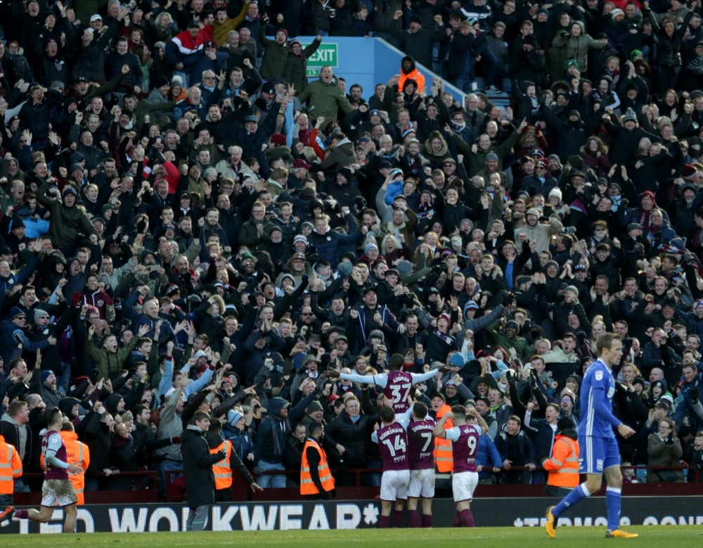 Villa Park celebrates Albert Adomah's goal in Sunday's Second City derby. Pic Andy Shaw