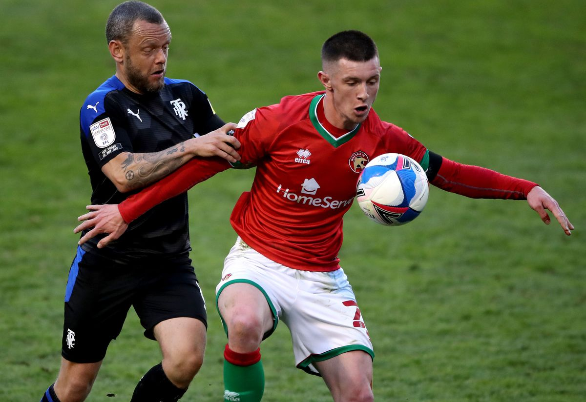 Tranmere Rovers' Jay Spearing (left) and Walsall's Rory Holden