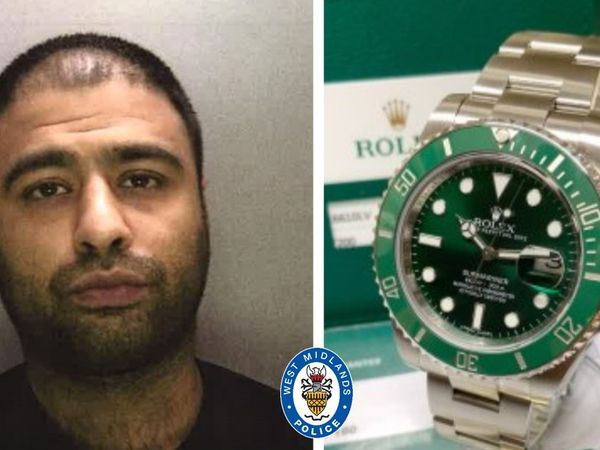 Jailed drug dealer Santokh Doal and a Rolex Kermit watch similar to the one seized from him