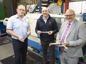 Jonathan Dudley (right) of Crowe UK LLP with Phil Stanley (left) and Richard Perry (right)  of TWP Manufacturing at the Tipton premises.
