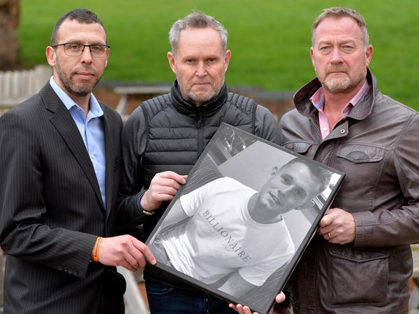 Father of murder victim Ryan Passey, Adrian, centre, with right  private investigator Russ Winfield and left campaign head Jason Connon