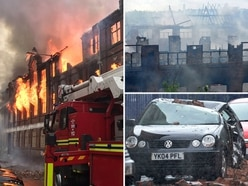 Walsall fire: Bricks land on cars as arson attack destroys old leatherworks