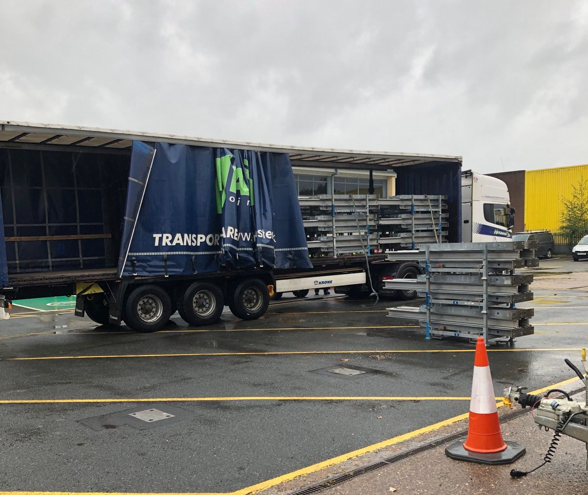 Lorry containing flood barriers