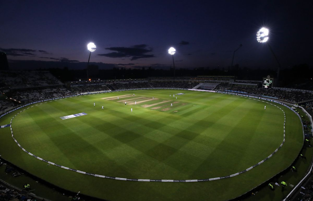 A general view of play under the floodlights