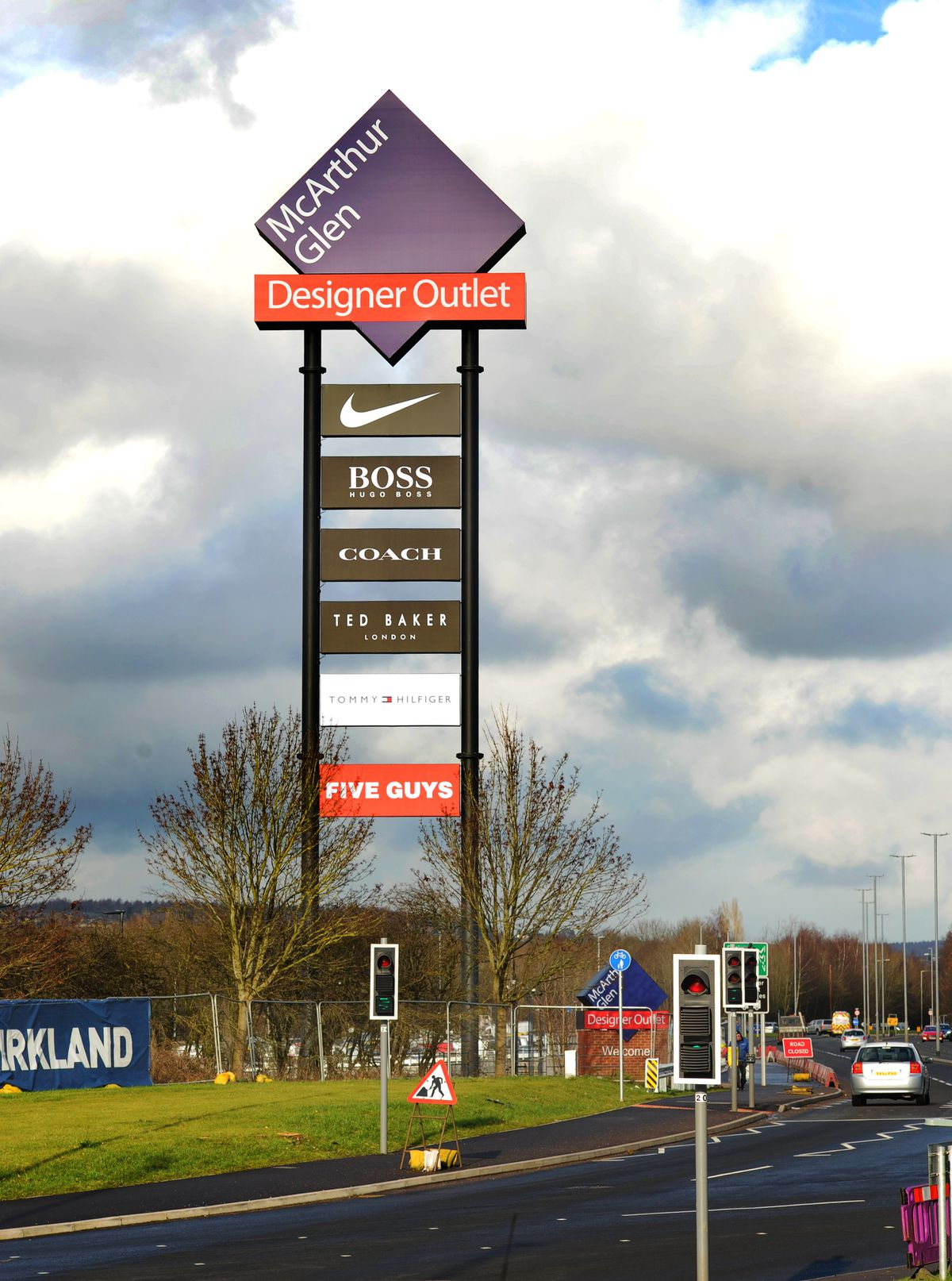 The sign installed at the new designer outlet