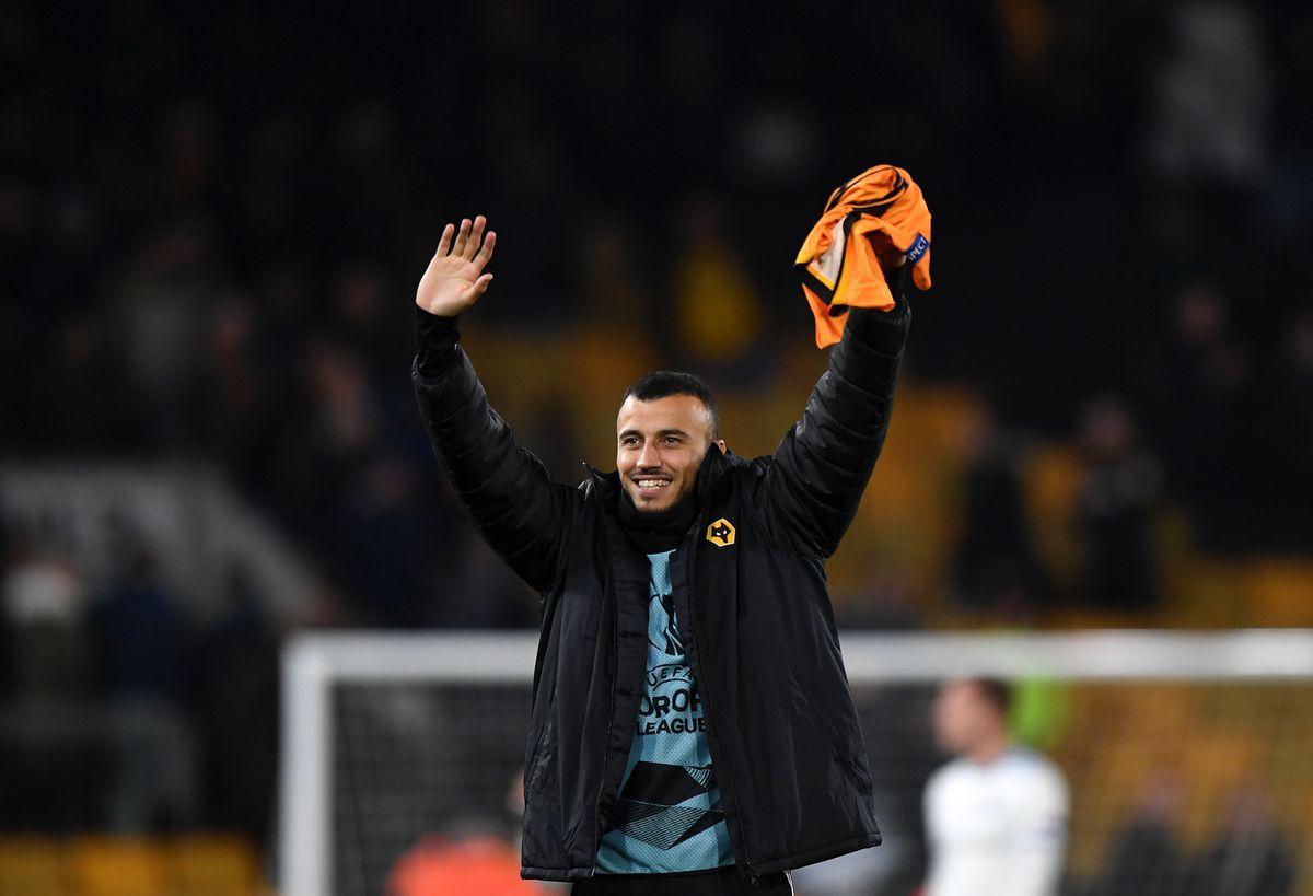 Romain Saiss of Wolverhampton Wanderers celebrates at full time (AMA)