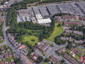 An aerial Google Maps view showing site of proposed travellers site in Gorsebrook Road, Wolverhampton, next to the Dunstall Hill Trading Estate