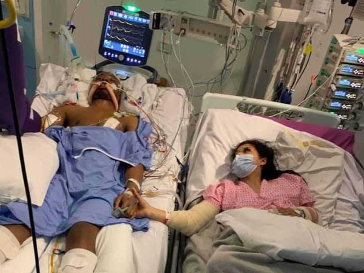 Shakur Pinnock with girlfriend Chante Hoosang in hospital