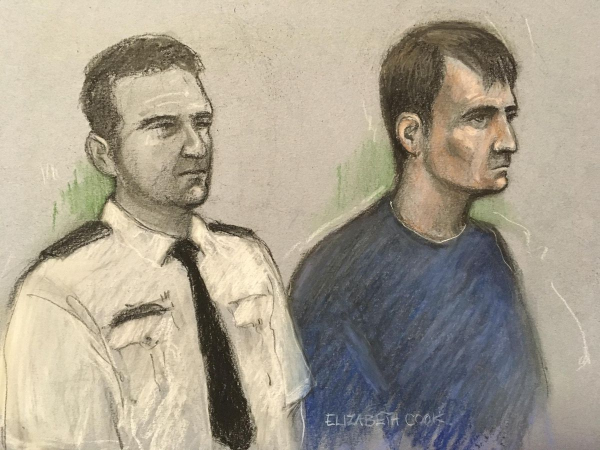 A sketch of Christopher Kennedy in court