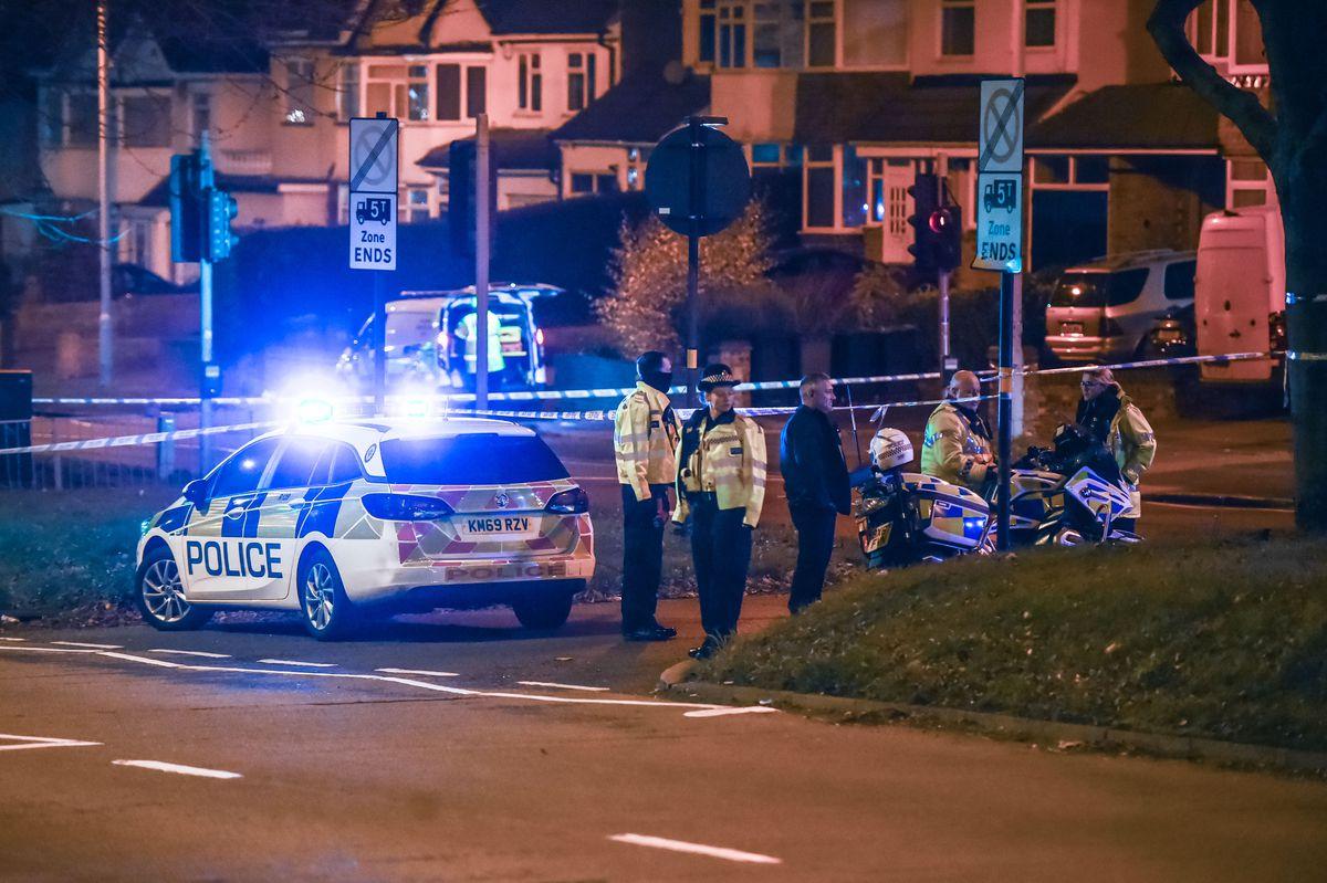 Police at the scene in Hagley Road, in Quinton. Photo: Snapper SK