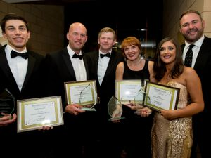 From L-R: Winners Andy Gough, James Coles representing George Green Solicitors, Wolverhampton Law Society president Gareth Ruddock, Alison Westwood, Lauren Saville and guest speaker Scott Quinnell.