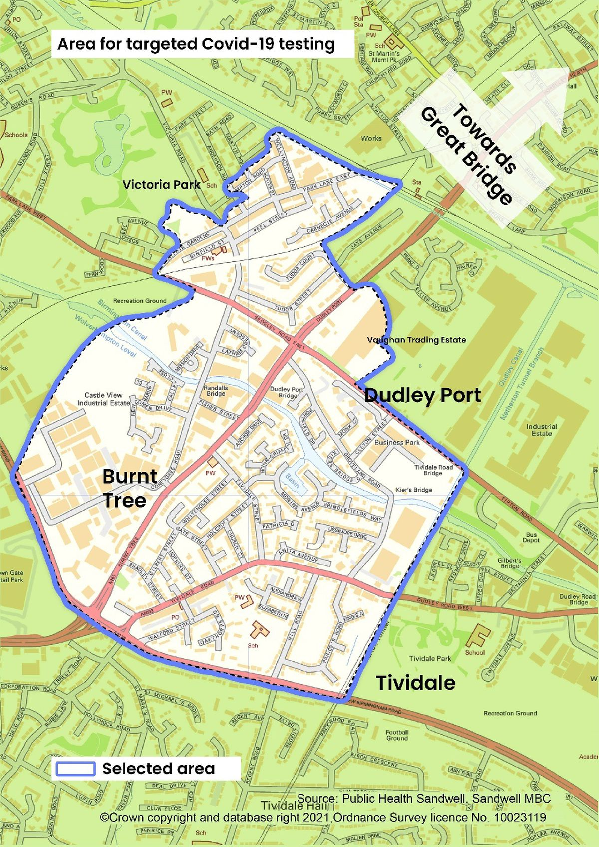 A map of where targeted testing will be underway on the Tipton and Oldbury border